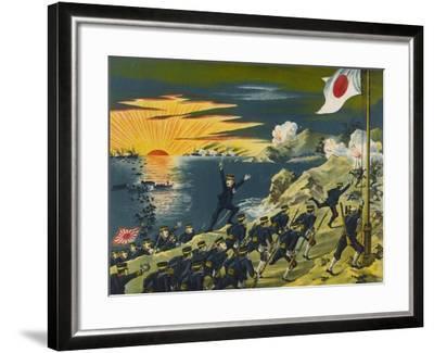 Japanese Land at Liaodong Peninsula, Russians Flee--Framed Art Print