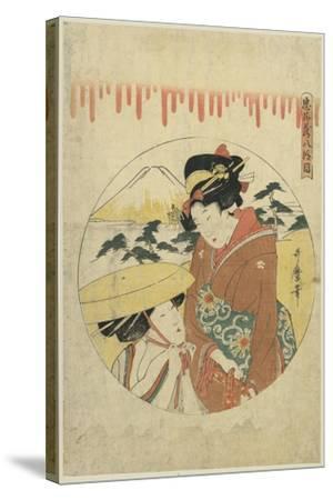 A Lady's Discussion-Kitagawa Utamaro-Stretched Canvas Print