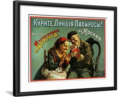 Old and Experienced Smoke the Best - Dukatz Cigarettes of Moscow--Framed Art Print