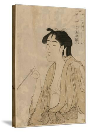Woman Smoking a Pipe-Kitagawa Utamaro-Stretched Canvas Print