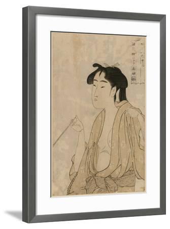 Woman Smoking a Pipe-Kitagawa Utamaro-Framed Art Print