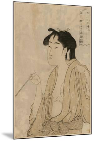 Woman Smoking a Pipe-Kitagawa Utamaro-Mounted Art Print