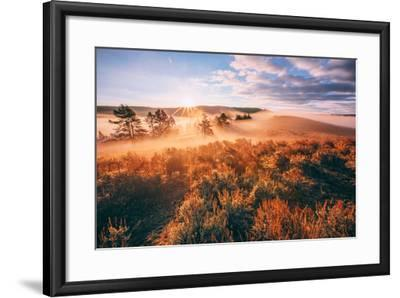 Sudden Fog and Light Beams, Morning at Yellowstone National Park-Vincent James-Framed Photographic Print