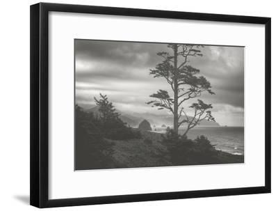 Moody Cannon Beach, Black and White, Oregon Coast-Vincent James-Framed Photographic Print