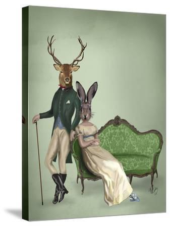 Mr Deer and Mrs Rabbit-Fab Funky-Stretched Canvas Print