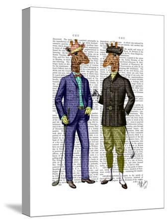 Golfing Giraffes-Fab Funky-Stretched Canvas Print