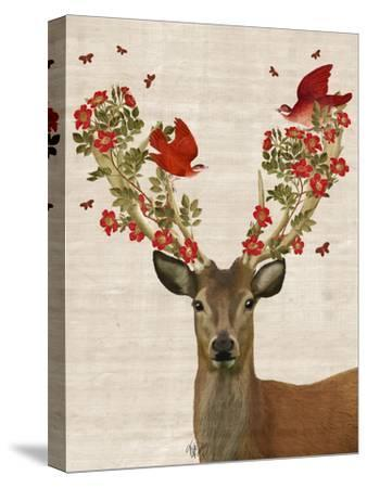 Deer and Love Birds-Fab Funky-Stretched Canvas Print