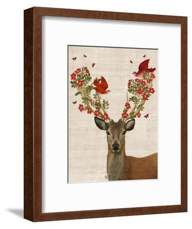 Deer and Love Birds-Fab Funky-Framed Premium Giclee Print