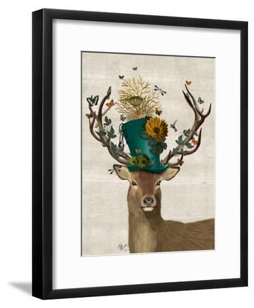 Mad Hatter Deer-Fab Funky-Framed Premium Giclee Print