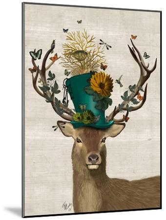 Mad Hatter Deer-Fab Funky-Mounted Premium Giclee Print