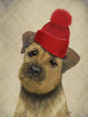 Border Terrier with Red Bobble Hat-Fab Funky-Framed Premium Giclee Print