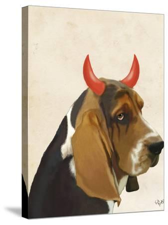 Little Devil Basset Hound-Fab Funky-Stretched Canvas Print