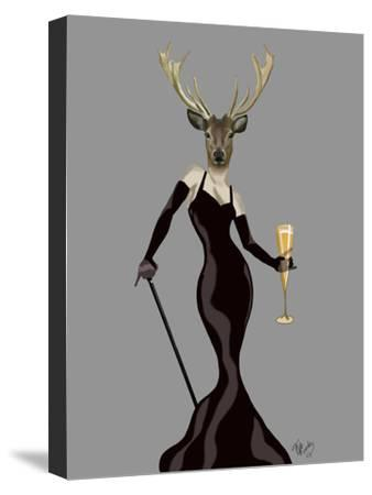Glamour Deer in Black-Fab Funky-Stretched Canvas Print