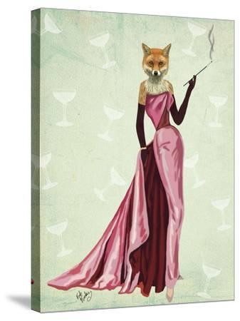 Glamour Fox in Pink-Fab Funky-Stretched Canvas Print