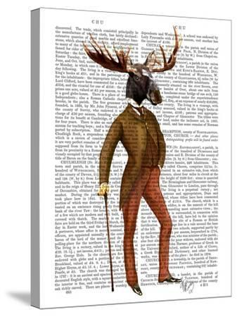 Moose In Suit Full-Fab Funky-Stretched Canvas Print