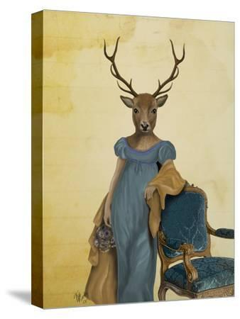 Deer in Blue Dress-Fab Funky-Stretched Canvas Print