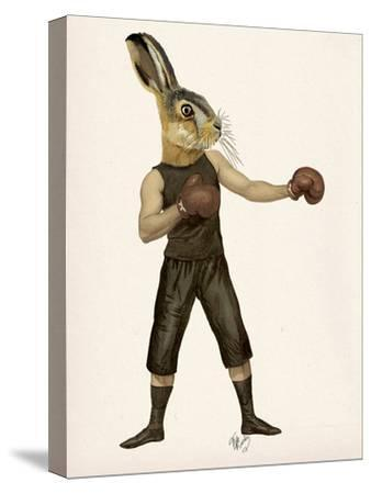 Boxing Hare-Fab Funky-Stretched Canvas Print
