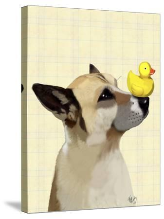 Dog and Duck-Fab Funky-Stretched Canvas Print