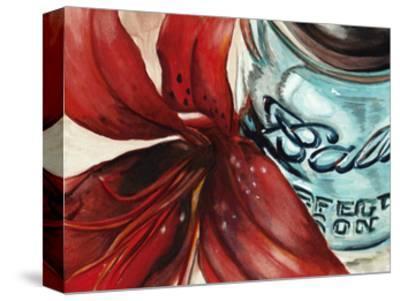 Ball Jar Flower II-Redstreake-Stretched Canvas Print