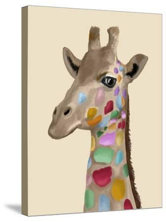 MultiColoured Giraffe-Fab Funky-Stretched Canvas Print