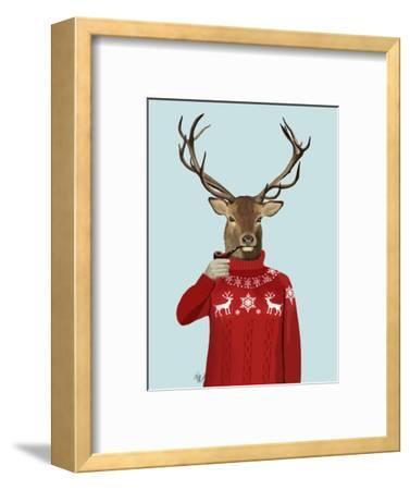 Deer in Ski Sweater-Fab Funky-Framed Premium Giclee Print