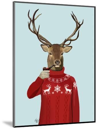 Deer in Ski Sweater-Fab Funky-Mounted Premium Giclee Print