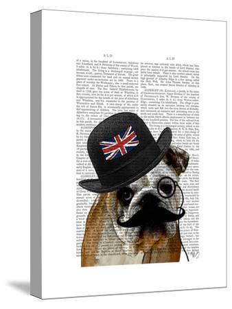 British Bulldog and Bowler Hat-Fab Funky-Stretched Canvas Print