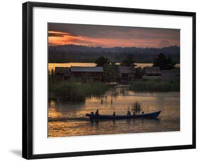 People in a Boat on the Irrawaddy River-Tino Soriano-Framed Photographic Print