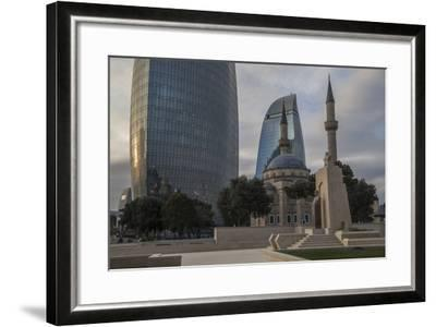 Exterior View of the Flame Towers and Shakhindlar Mosque-Will Van Overbeek-Framed Photographic Print