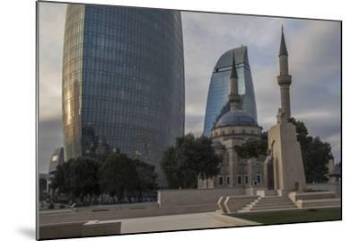 Exterior View of the Flame Towers and Shakhindlar Mosque-Will Van Overbeek-Mounted Photographic Print
