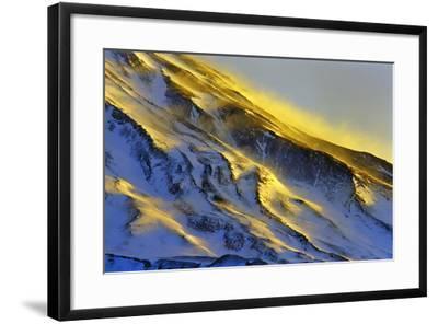 The First Rays of Sunrise Shine on Snow-Covered Slopes of Mount Damavand-Babak Tafreshi-Framed Photographic Print
