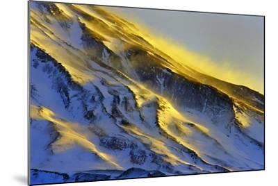 The First Rays of Sunrise Shine on Snow-Covered Slopes of Mount Damavand-Babak Tafreshi-Mounted Photographic Print