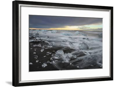 Crystal Clear Icebergs and Volcanic Sand Beach on the Atlantic Shore Near Jokulsarlon Glacier Lake-Babak Tafreshi-Framed Photographic Print