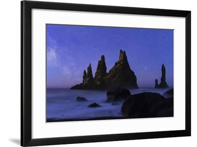 Night Sky and the Milky Way at the Break of Dawn over the Basalt Sea Stacks known as Reynisdrangar-Babak Tafreshi-Framed Photographic Print