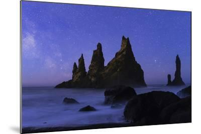 Night Sky and the Milky Way at the Break of Dawn over the Basalt Sea Stacks known as Reynisdrangar-Babak Tafreshi-Mounted Photographic Print