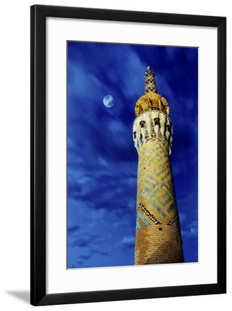 The Moon in the Evening Sky Above the Historic Minaret of Tekeye Mirchaqmaq, in Yazd, Iran-Babak Tafreshi-Framed Photographic Print