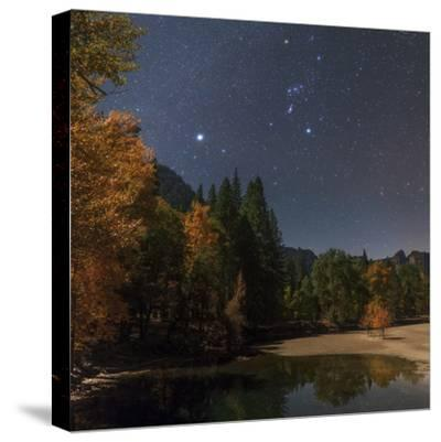 Bright Star Sirius and Constellation Orion over the Merced River in Moonlight-Babak Tafreshi-Stretched Canvas Print
