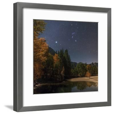 Bright Star Sirius and Constellation Orion over the Merced River in Moonlight-Babak Tafreshi-Framed Photographic Print