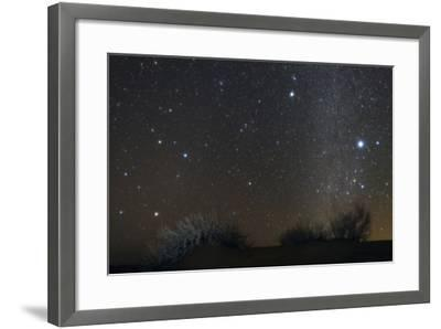 Constellations Leo and Hydra; the Milky Way; Saturn; Bright Stars Sirius and Procyon, over Desert-Babak Tafreshi-Framed Photographic Print