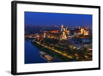 An Aerial View of Wawel Royal Castle and Vistula River-Babak Tafreshi-Framed Photographic Print