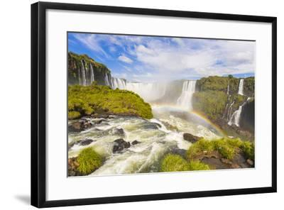 A Rainbow at Iguazu Waterfalls on the Border of Argentina and Brazil in South America-Mike Theiss-Framed Photographic Print
