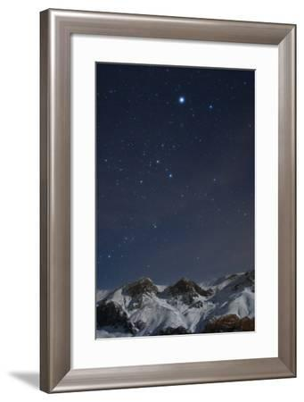 Sirius, and the Rest of Constellation Canis Major Above Snow-Covered Peaks of the Alborz Mountains-Babak Tafreshi-Framed Photographic Print