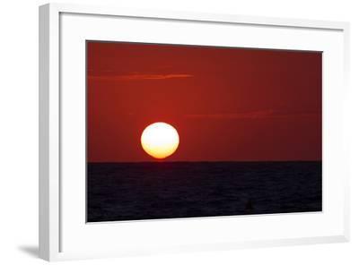 The Sun Sinks into the Atlantic Ocean, Off the Coast of Normandy, France-Babak Tafreshi-Framed Photographic Print