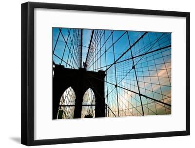 A View of the Brooklyn Bridge Through Cables-Kike Calvo-Framed Premium Photographic Print