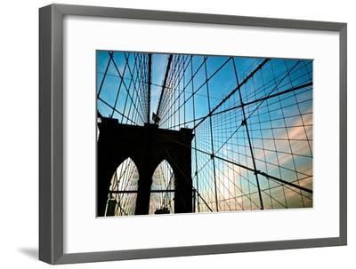 A View of the Brooklyn Bridge Through Cables-Kike Calvo-Framed Photographic Print