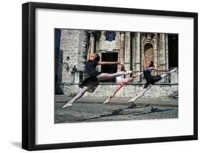 Ballerinas from the National Ballet of Cuba Dance on the Streets of Havana-Kike Calvo-Framed Premium Photographic Print