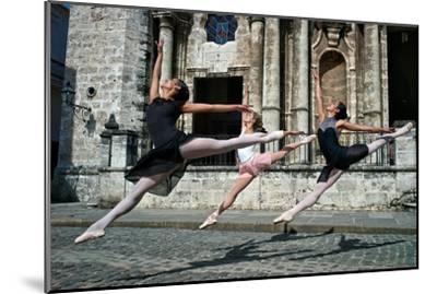 Ballerinas from the National Ballet of Cuba Dance on the Streets of Havana-Kike Calvo-Mounted Premium Photographic Print