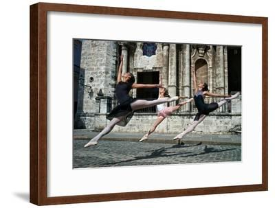 Ballerinas from the National Ballet of Cuba Dance on the Streets of Havana-Kike Calvo-Framed Photographic Print
