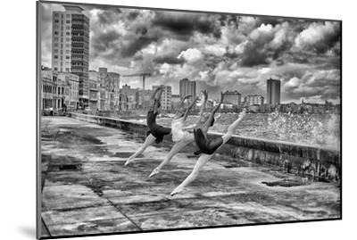 Ballerinas from the National Ballet of Cuba Dance on Havana's Malecon-Kike Calvo-Mounted Premium Photographic Print