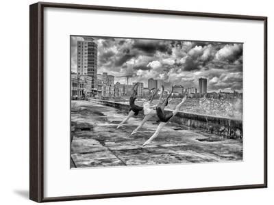 Ballerinas from the National Ballet of Cuba Dance on Havana's Malecon-Kike Calvo-Framed Premium Photographic Print
